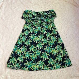 Crown & Ivy palm tree strapless ruffle dress